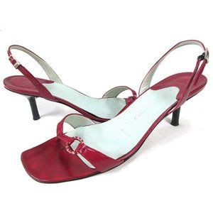 SIGERSON MORRISON Red Leather Heels Thong Sandals